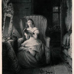 A_young_woman_is_sitting_in_a_chair_reading_a_story_which_ha_Wellcome_V0040287